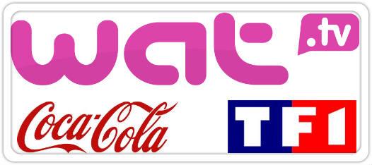 logos de TF1, Wat.tv et Coca Cola