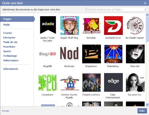 facebook, créer une liste d'intérêt