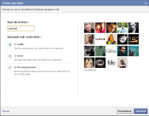 nom de la liste d'intérêts facebook et confidentialité