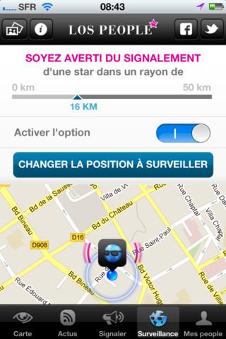 Réglage alertes > Application Los People