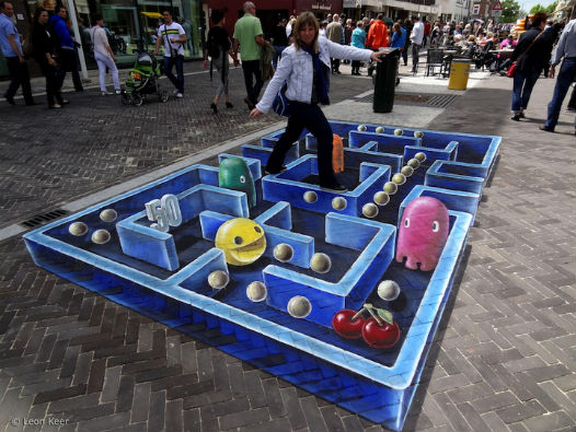 3d street painting pacman rendu