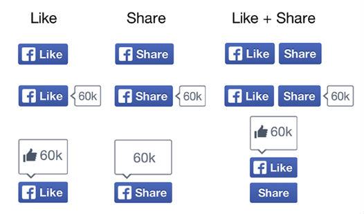 boutons facebook j'aime et partage