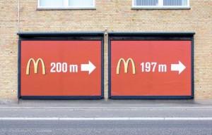 Panneaux publicitaire Mac Donald - Distance