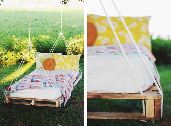 Palette en bois pour faire un lit hamac
