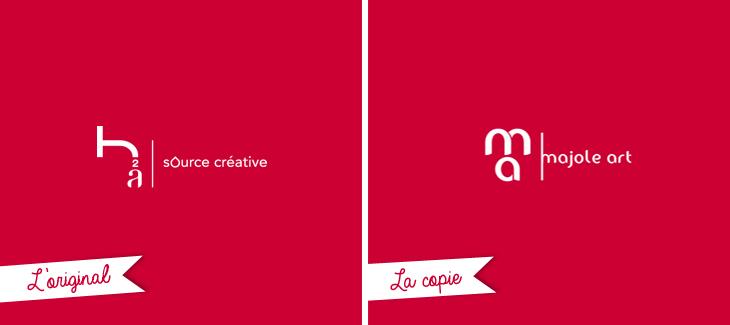 Logo Majole Art vs logo h2a, comme un air de ressemblance