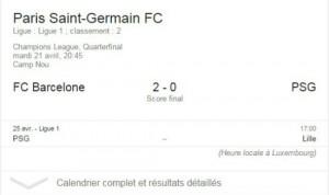 PSG sur la recherche Google.fr