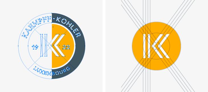 construction d'un logo. Ici l'exemple de kaempff Kohler