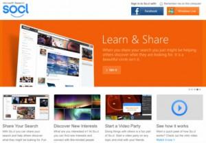page accueil réseau social microsoft So.cl