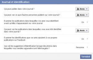 confidentialité facebook - journal et identification