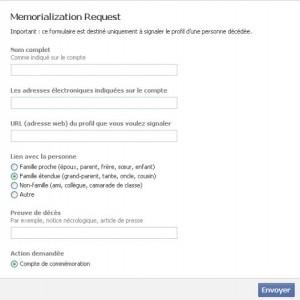 formulaire pour basculer le compte d'un défunt en mémorial - facebook