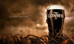 Bière Guinness dans un champs de citrouille pour Halloween